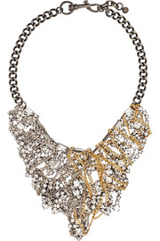 Collage silver-tone, gold-plated and crystal necklace