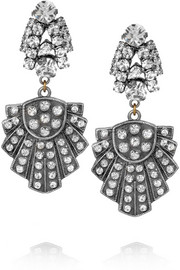 Lulu Frost Showcase Deco silver-tone crystal earrings