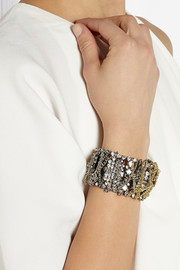 Lulu Frost Oxidized silver-tone and gold-plated crystal bracelet
