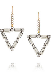 Lulu Frost Empire oxidized silver-tone crystal earrings
