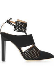 Mesh, rubber and patent-leather pumps