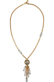 Audrey Tassel gold and silver-plated crystal necklace