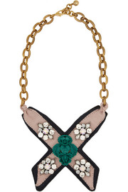 Bette Bib gold-plated, leather, crystal and resin necklace