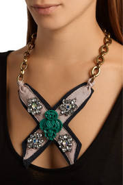 Lulu Frost Bette Bib gold-plated, leather, crystal and resin necklace