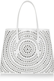 Embellished laser-cut leather tote