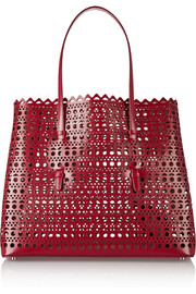 Laser-cut patent-leather tote