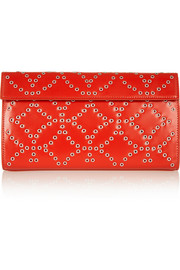 Eyelet-embellished leather clutch