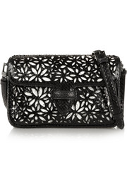 Double Pocket Margarite small python and leather shoulder bag