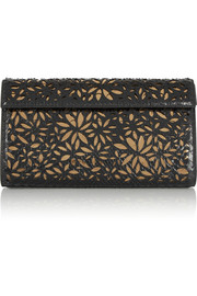 Laser-cut python and metallic leather clutch