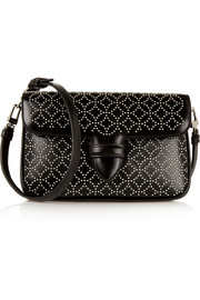 Double Pocket small embellished leather shoulder bag