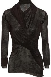 Lilies wrap-effect stretch-jersey top