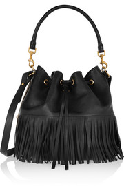 Emmanuelle medium fringed leather bucket bag