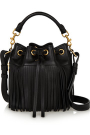 Emmanuelle small fringed leather bucket bag