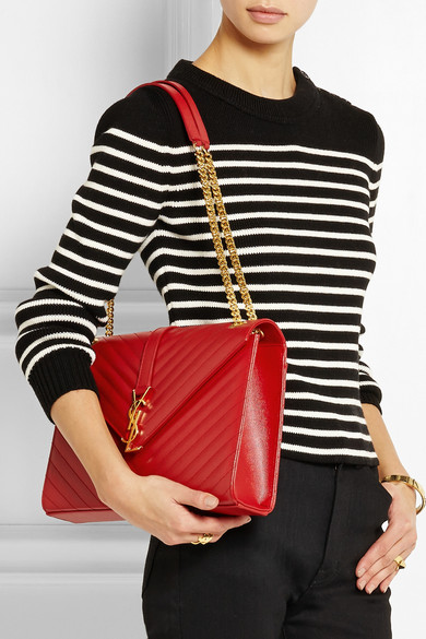 saint laurent bag - classic large monogram saint laurent satchel in lipstick red grain ...