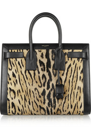Sac De Jour small leopard-print calf hair and leather tote