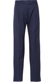 Pinstriped wool-gabardine wide-leg pants
