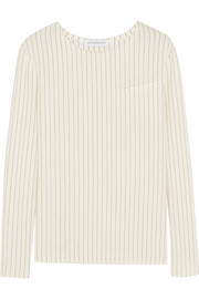 Pinstriped stretch-cotton top