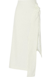 Pinstriped cotton-blend skirt