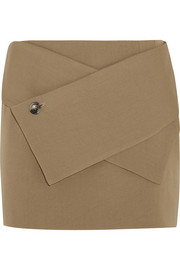 Wool-blend twill mini skirt