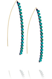 Sioux gold-plated, cotton and turquoise earrings