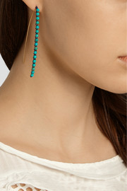 Aurélie Bidermann Sioux gold-plated, cotton and turquoise earrings