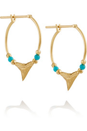 Aurélie Bidermann 18-karat gold turquoise earrings