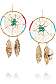 Aurélie Bidermann Gold-plated, turquoise, feather and cotton earrings