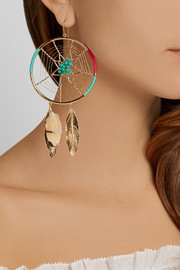 Gold-plated, turquoise, feather and cotton earrings