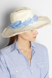 Sensi Studio Feather-trimmed toquilla straw Panama hat