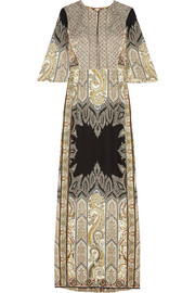 Embellished printed silk-crepe gown