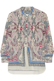 Paisley-print cotton and silk-blend blouse