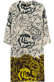 Printed silk crepe de chine dress