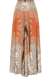 Printed silk-crepe maxi skirt