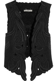 Silk-embroidered cotton-twill vest