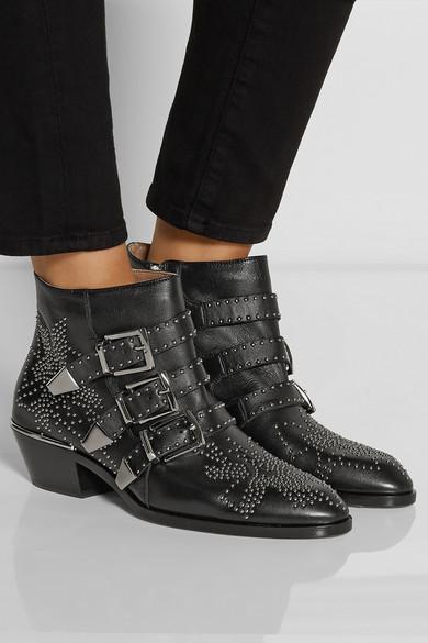 chlo susanna studded leather ankle boots net a porter com. Black Bedroom Furniture Sets. Home Design Ideas
