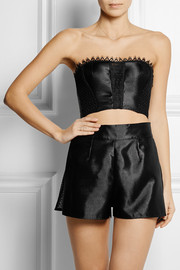 Lace-trimmed macramé-paneled satin-twill bustier