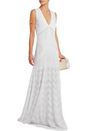 Lace-paneled crochet-knit maxi dress