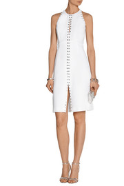 Roberto Cavalli Eyelet-embellished crepe dress