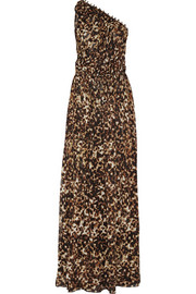 One-shoulder leopard-print silk-chiffon gown