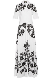 Embroidered cotton-poplin maxi dress