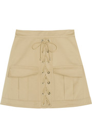 Stretch-cotton twill mini skirt