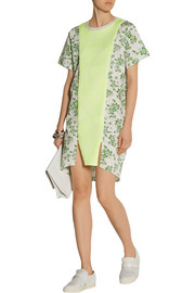 Julien David Jacquard-paneled printed seersucker cotton mini dress