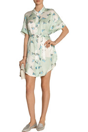 Julien David Printed silk-twill shirt dress