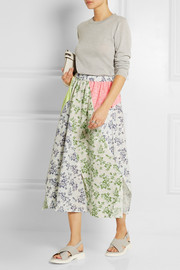 Jacquard-paneled printed seersucker cotton skirt