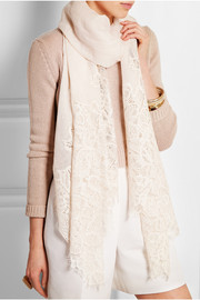 Valentino Lace-paneled linen and modal-blend scarf