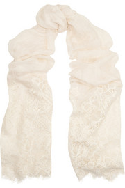 Lace-paneled linen and modal-blend scarf