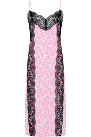Lace-trimmed printed stretch-crepe dress
