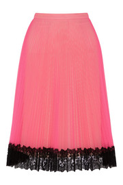Lace-trimmed neon tulle skirt
