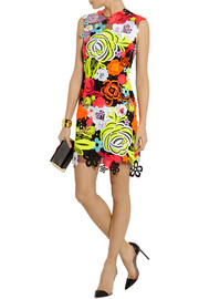 Christopher Kane Neon guipure lace and tulle mini dress