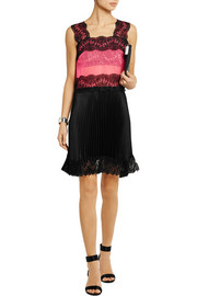 Lace-paneled tulle and plissé-satin mini dress